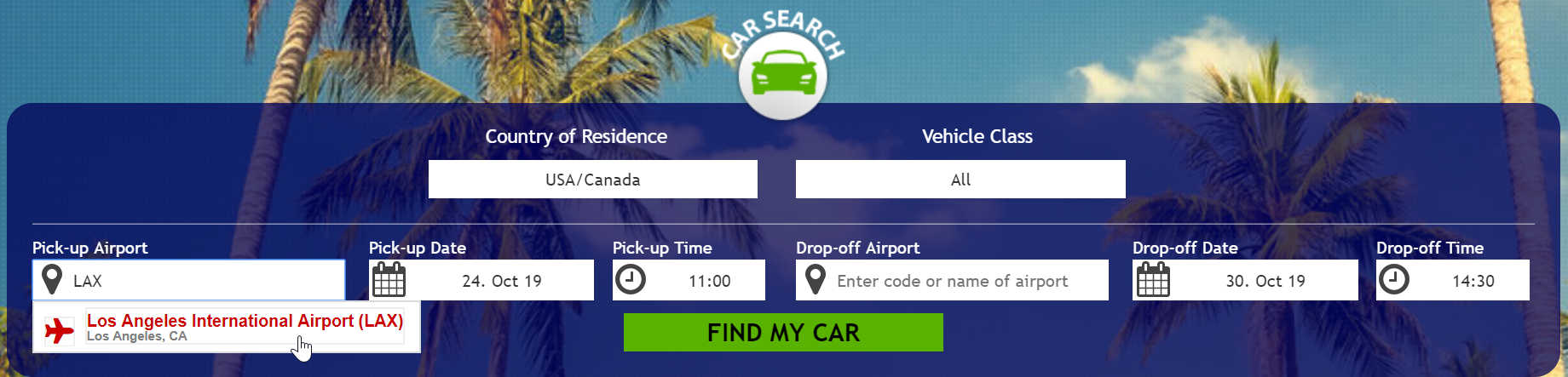 Enter the name of the desired US mainland airport where you want to pickup your rental car